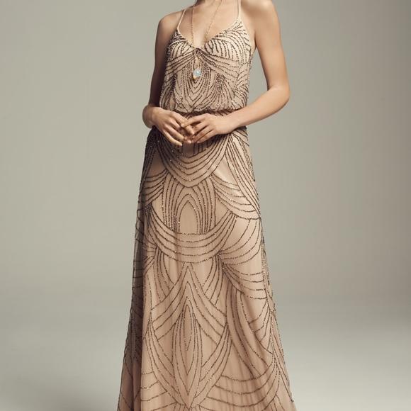 Adrianna Papell Dresses | Nwot Beaded Blouson Dress Taupe 2 | Poshmark